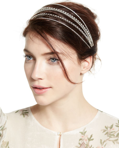 Jennifer Behr Five-Strand Crystal Bandeau Headband