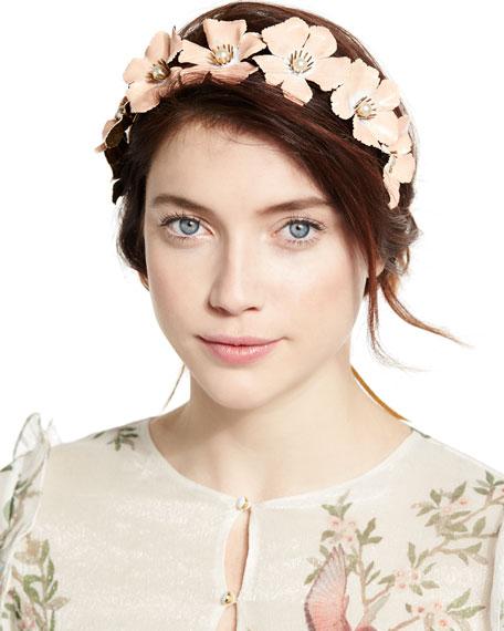 Jennifer Behr Farah Floral Circlet Headband, Gold/Blush