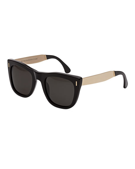 Gals Francis Square Monochromatic Metal-Trim Sunglasses, Black/Gold