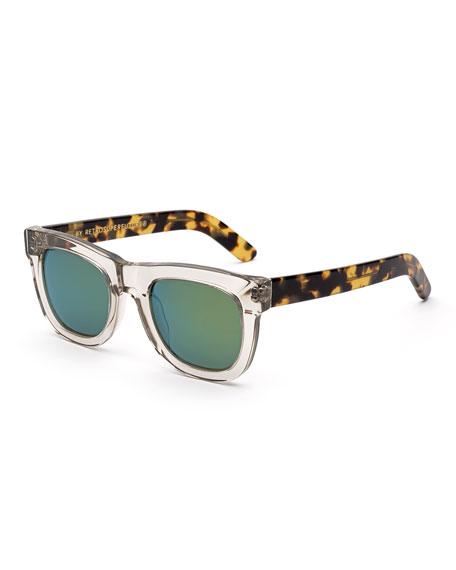 Ciccio Sportivo Square Sunglasses, Clear/Tortoise