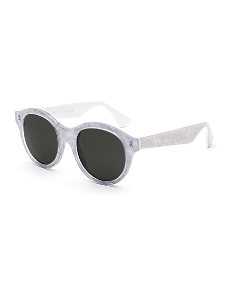 Super by Retrosuperfuture Mona Pool Round Sunglasses, Marbled