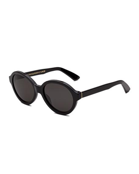 Yoma Round Acetate Sunglasses, Black
