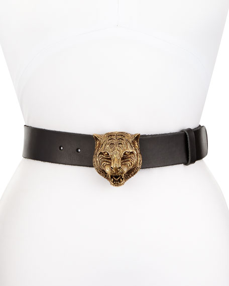 Leather Tiger-Buckle Belt, Black