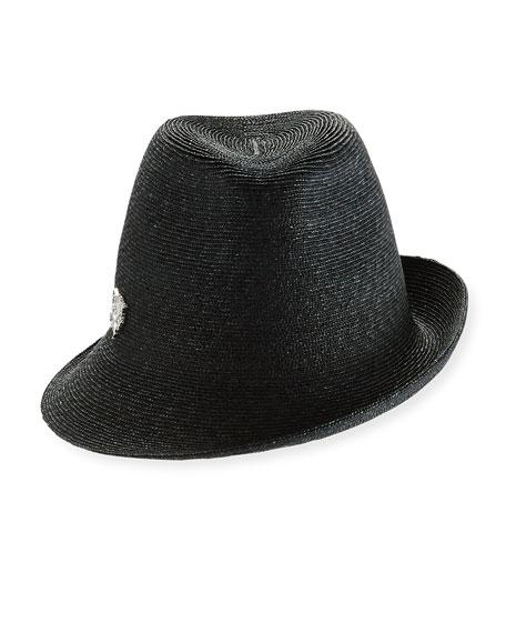 Sidesweep Hat w/ Unicorn Pin, Black
