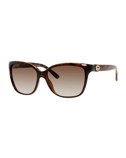 Square Acetate Sunglasses, Havana