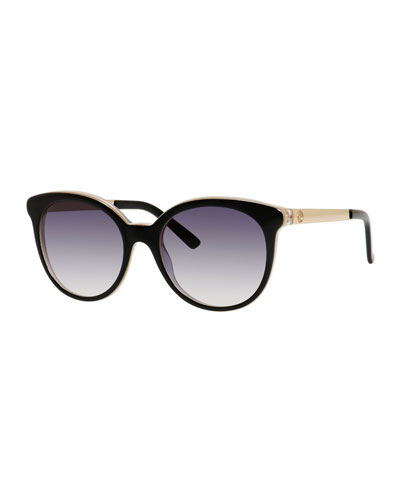 Rounded Cat-Eye Sunglasses, Black/Indigo