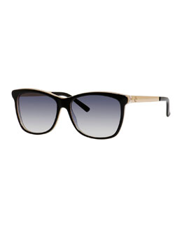 Squared Cat-Eye Sunglasses, Black/Blue