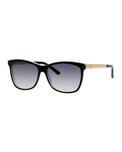 Squared Cat-Eye Sunglasses, Black/Blue