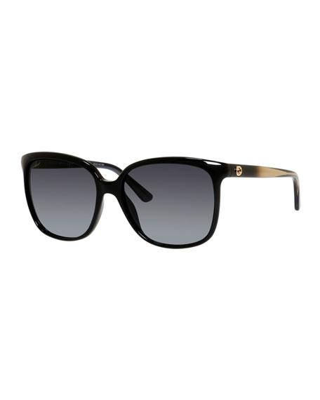 Gucci Plastic Square Sunglasses, Black