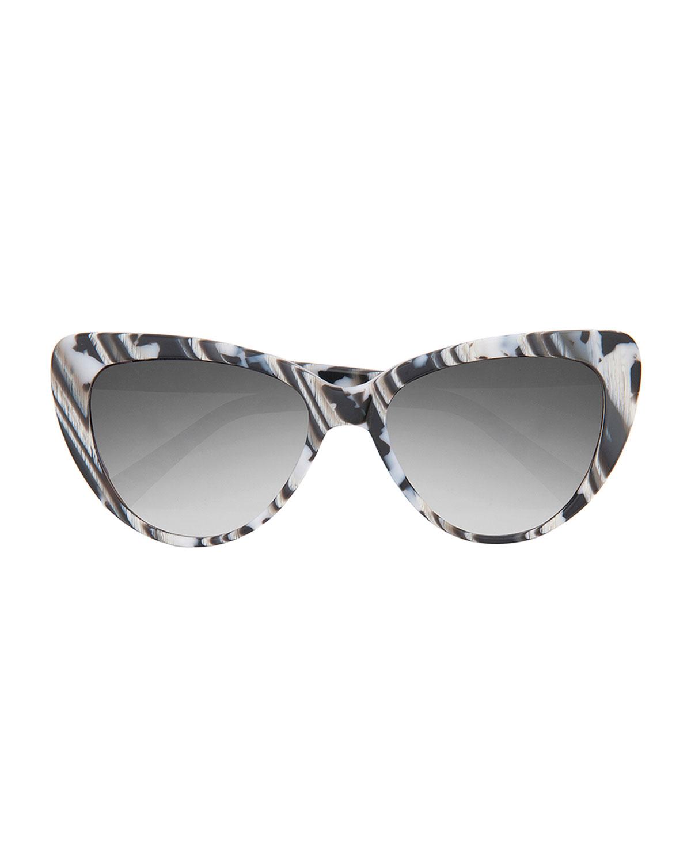 Prism Woman Cat-eye Printed Acetate Sunglasses White Size Prism jg8njplf