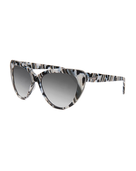 Prism Capri Printed Cat-Eye Sunglasses, Black/White