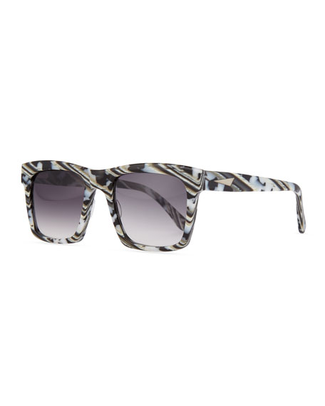 Milan Printed Square Sunglasses, Black/White