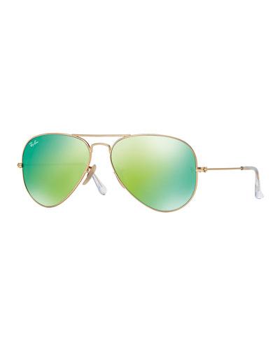Mirrored Aviator Sunglasses, Golden/Green