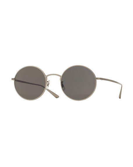 After Midnight Round Sunglasses, Silver/Gray