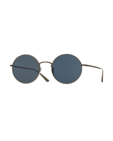 Oliver Peoples The Row After Midnight Round Sunglasses, Pewter/Blue