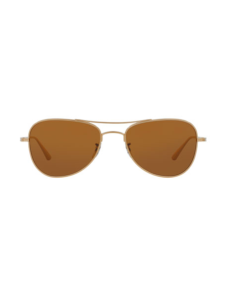 Executive Suite Photochromic Aviator Sunglasses, Gold/Brown