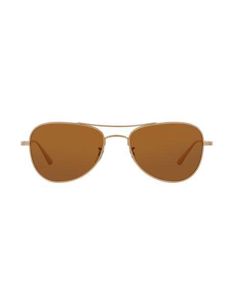 Executive Suite Photochromic Aviator Sunglasses, Gold/Brown