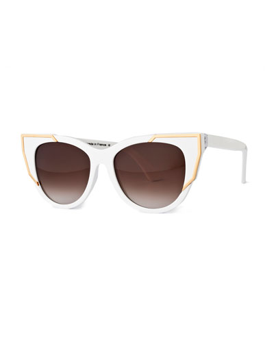 Butterscotchy Cat-Eye Sunglasses, White