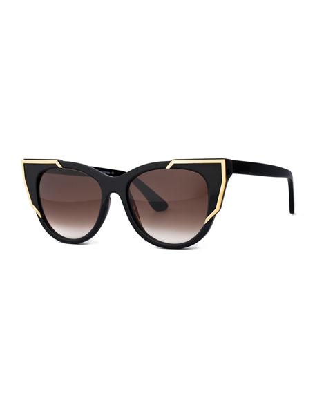 Butterscotchy Cat-Eye Sunglasses, Black/Gold