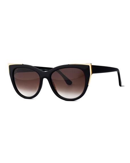 Epiphany Capped Cat-Eye Sunglasses, Black/Gold