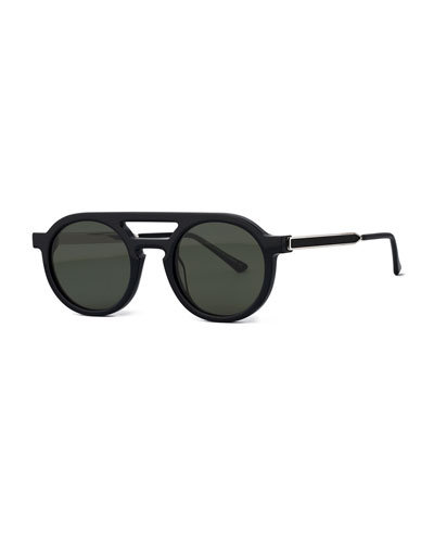 Gravity Striped Round Sunglasses, Black