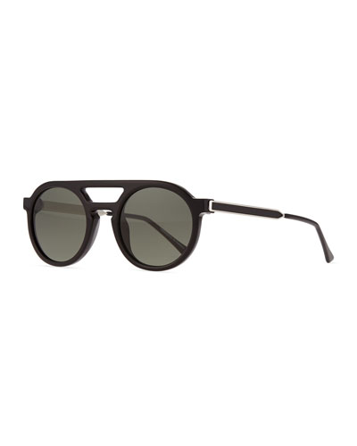 Gravity Round Monochromatic Sunglasses, Black