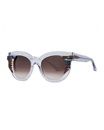 Slutty Vintage Gradient Square Sunglasses, Clear