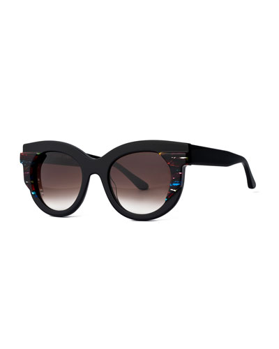 Slutty Vintage Gradient Square Sunglasses, Black