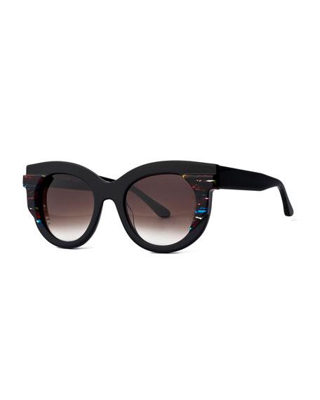 Thierry Lasry Slutty Vintage Gradient Square Sunglasses, Black