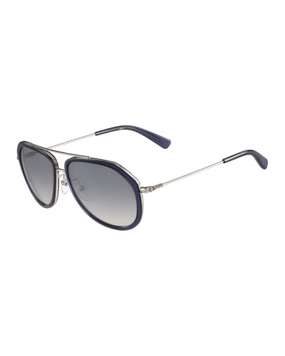 Trimmed Gradient Aviator Sunglasses, Blue