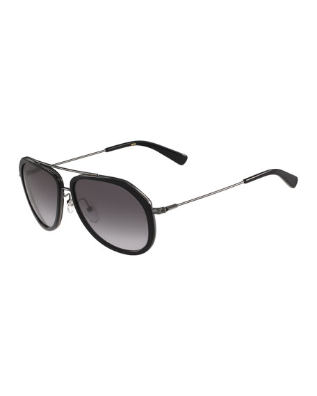 MCMTrimmed Gradient Aviator Sunglasses, Black