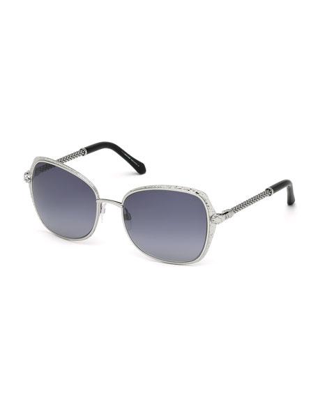 Roberto Cavalli Oversize Square Sunglasses, Silver