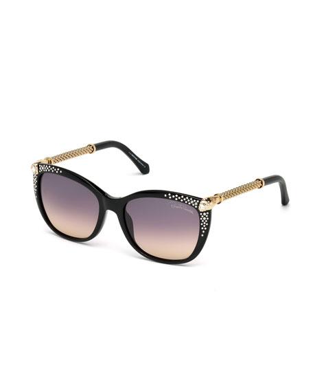 Studded Cat-Eye Sunglasses, Black