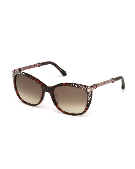 Roberto Cavalli Studded Cat-Eye Sunglasses, Havana