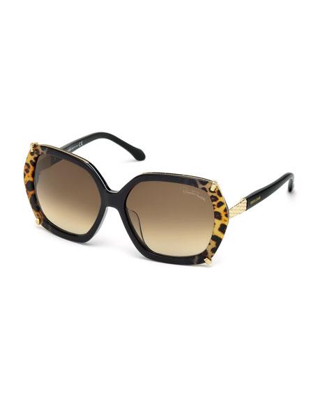 Roberto Cavalli Geometric Leopard-Print Oversize Sunglasses, Black