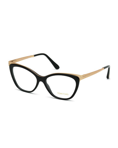 Cat-Eye Optical Frames, Shiny Black