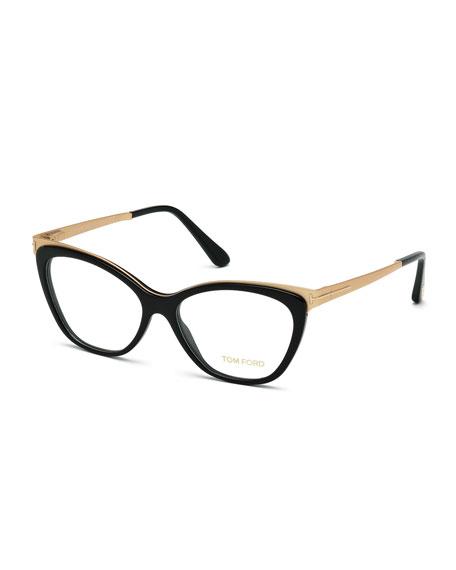Tom Ford Ft 5374 001 Shiny Black Gold Cat-Eye Eyeglasses