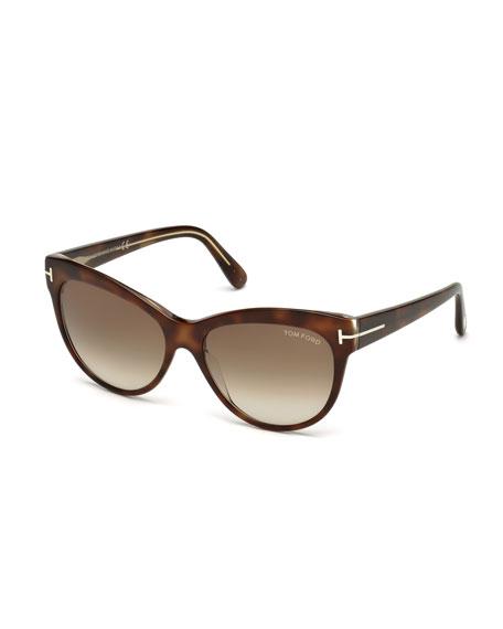 TOM FORD Lily Cat-Eye Sunglasses, Havana