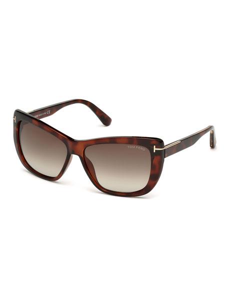 Lindsay Squared Cat-Eye Sunglasses, Havana