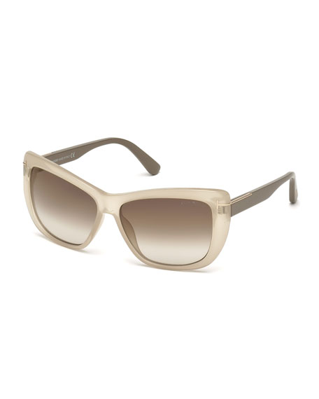 TOM FORD Lindsay Squared Cat-Eye Sunglasses, Opal/Beige