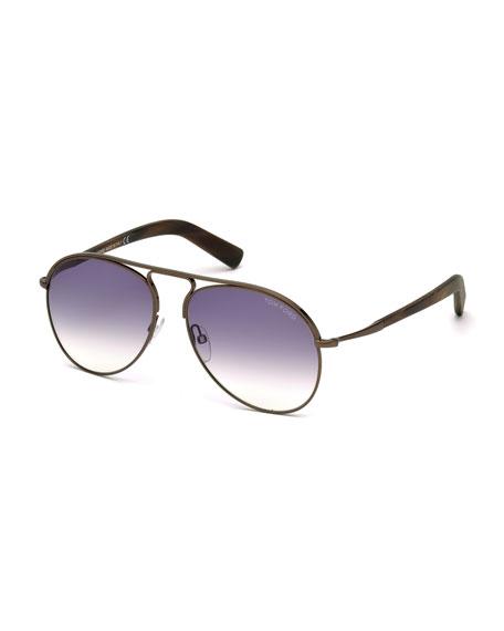 TOM FORD Cody Aviator Sunglasses, Dark Brown