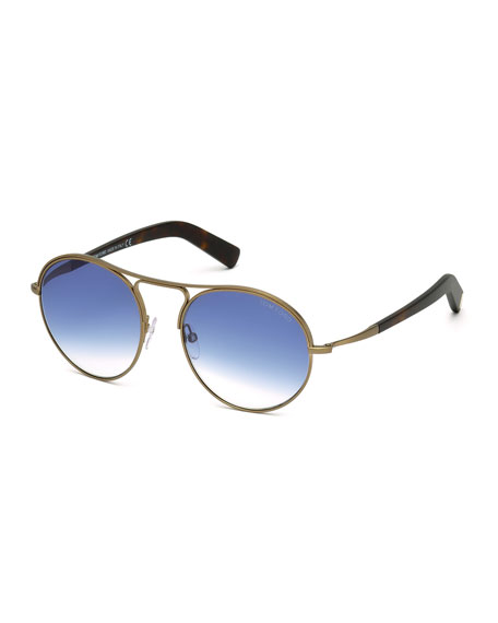 TOM FORD Jessie Rounded Aviator Sunglasses, Matte Brass