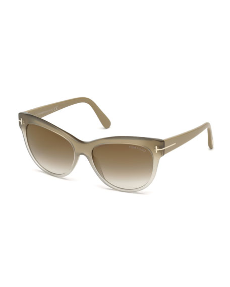 TOM FORD Lily Matte Cat-Eye Sunglasses, Beige/Gray