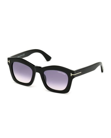 TOM FORD Greta Square Sunglasses, Shiny Black