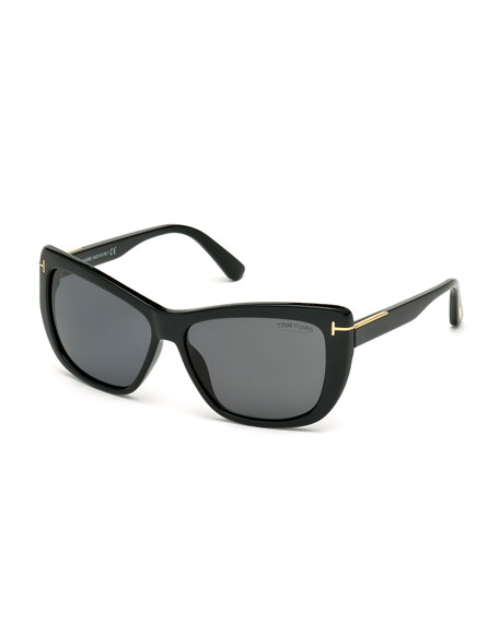 Polarized Cat Eye Sunglasses  tom ford lindsay polarized cat eye sunglasses black