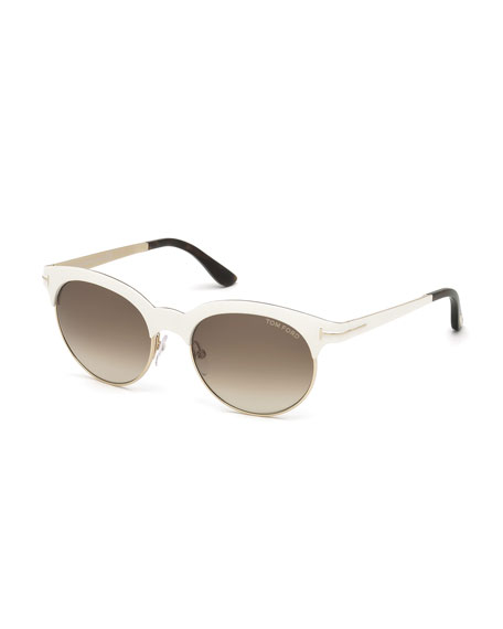 TOM FORD Angela Square Sunglasses, Ivory/Rose Gold