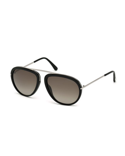 Stacey Aviator Sunglasses, Black/Silver