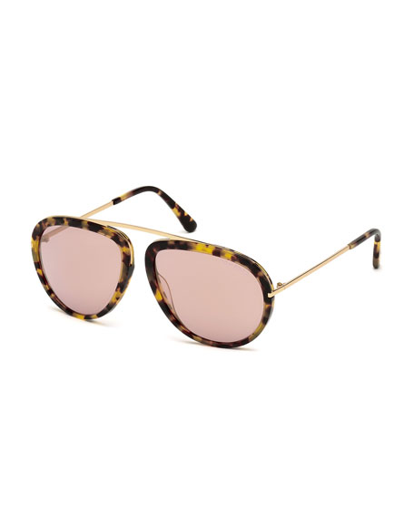 TOM FORD Stacey Aviator Sunglasses, Havana/Rose Gold