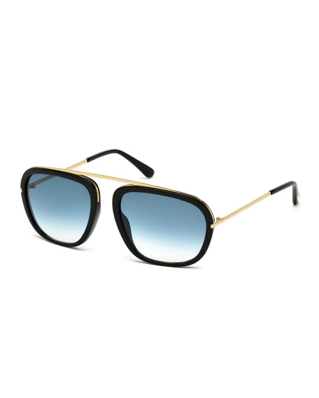 TOM FORD Johnson Squared Aviator Sunglasses, Black