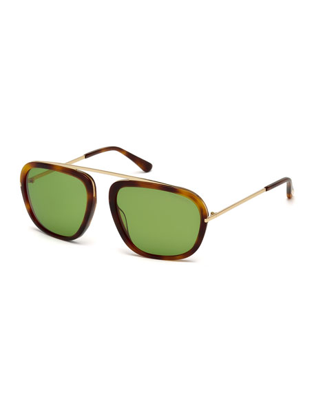TOM FORD Johnson Squared Aviator Sunglasses, Havana